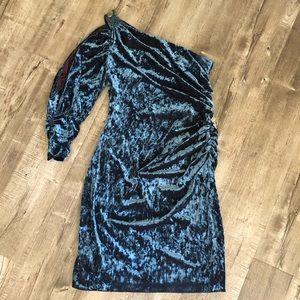 Aidan Mattox Blue Velvet One Shoulder Dress 12